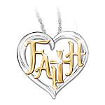 Faith In My Heart Women's Religious Heart-Shaped Diamond Pendant Necklace