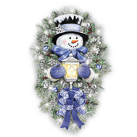 Thomas Kinkade A Warm Winter Welcome Holiday Snowman Wreath Lights Up: 2′ Tall