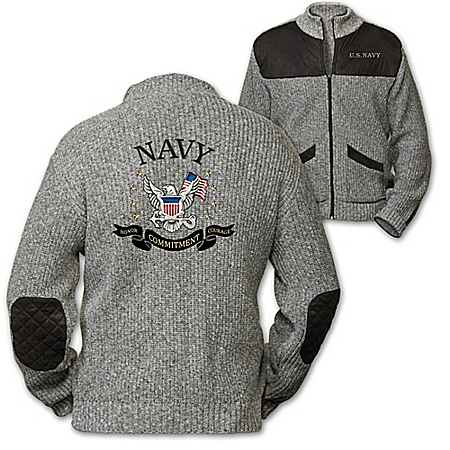 U.S. Navy Honor, Courage, Commitment Men's Knit Sweater Jacket