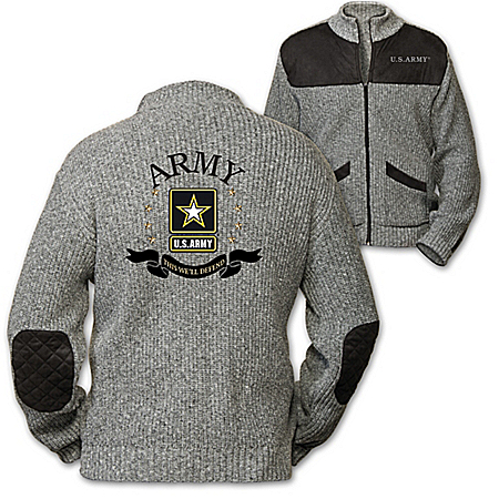 U.S. Army This We'll Defend Men's Knit Sweater Jacket