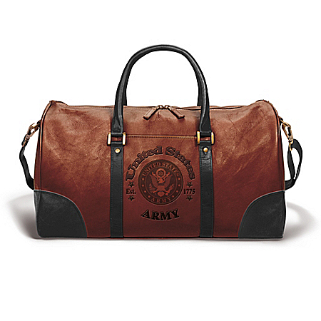 ARMY Embossed Leather Duffel Tote Bag