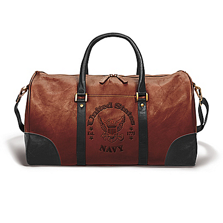 NAVY Embossed Leather Duffel Tote Bag