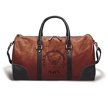 NAVY Embossed Leather Duffel Tote Bag