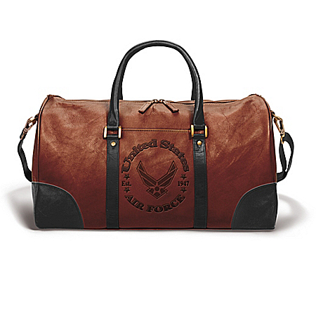 AIR FORCE Embossed Leather Duffel Tote Bag
