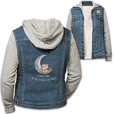 I Love Cats To The Moon And Back Women's Denim Vested Hoodie