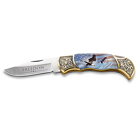 Ted Blaylock American Freedom Patriotic Folding Knife With Engraved Blade