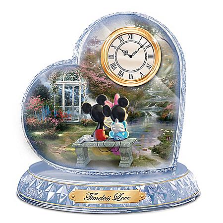 Thomas Kinkade Disney Timeless Love Crystal Heart Clock