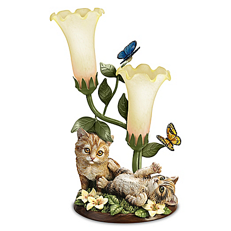 Purr-fectly Playful Sculpture With Torchiere Lamp