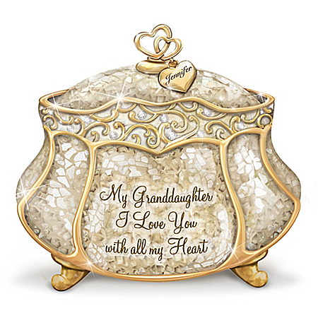 Granddaughter, I Love You Personalized Music Box