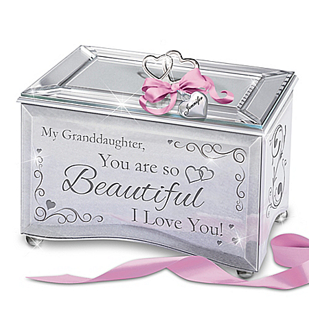 Mirrored Music Box for Granddaughters: Personalized Heart Charm and Poem Card