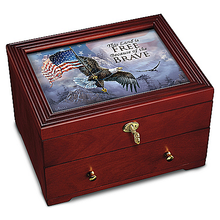 The Free And The Brave Wooden Strongbox
