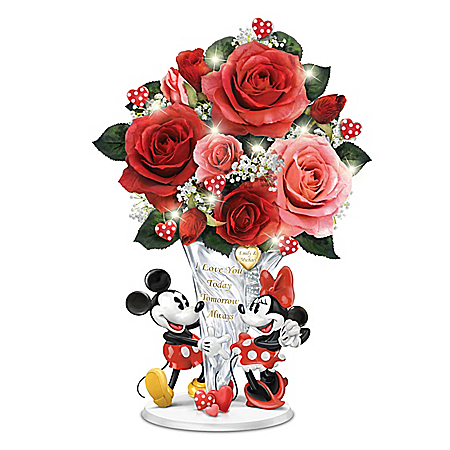 Disney Personalized Crystal Vase Centerpiece With Lights