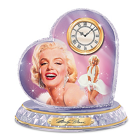Love, Marilyn Monroe Crystal Heart Clock