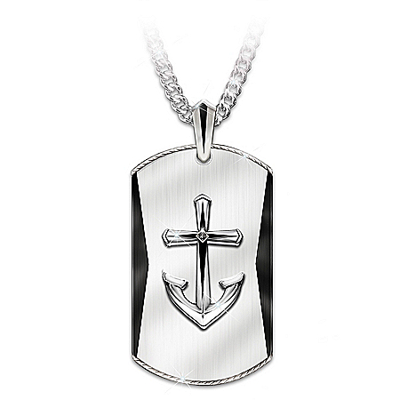 Anchored In Faith Men's Pendant Necklace For Grandson