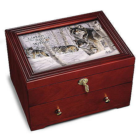 Strength Of The Pack Keepsake Box: Wolf Wooden Strongbox