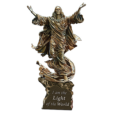 Light Of The World Religious Cold-Cast Bronze Jesus Sculpture Lights Up