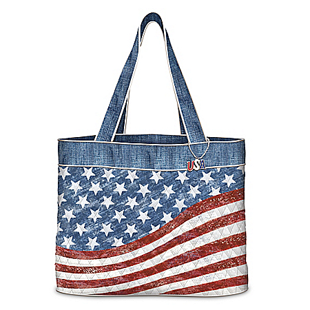 American Pride Quilted American Flag Inspired Women's Tote Bag 126573001