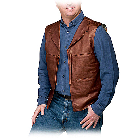 John Wayne Replica Men's Leather & Suede Vest