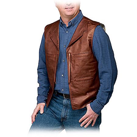 John Wayne Replica Men's Leather & Suede Vest