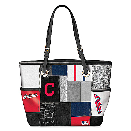 Cleveland Indians MLB Women's Patchwork Tote Bag With Team Logos