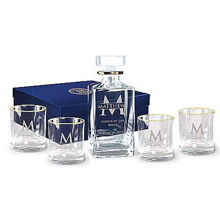 Personalized Decanter And Glasses: Five-Piece Set
