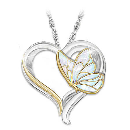 Messenger From Heaven Butterfly Heart Women's Pendant Necklace: Sympathy Gift, Memorial Jewelry