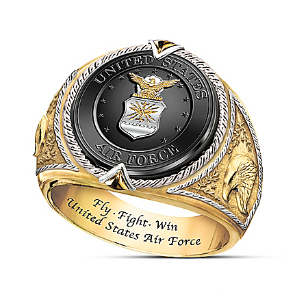 "U.S. Air Force ""Fly, Fight, Win"" Sterling Silver Tribute Ring"