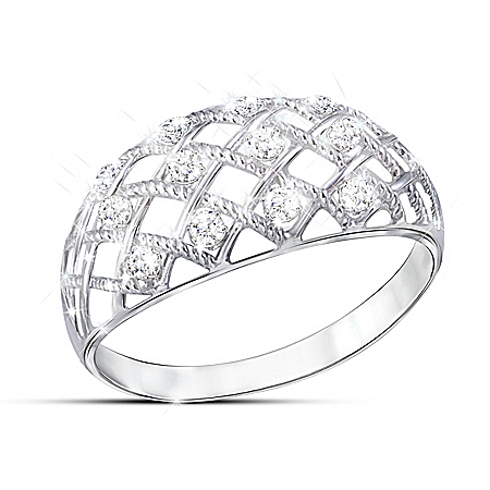 Diamond Dazzle Women's Lattice Design Diamond Ring