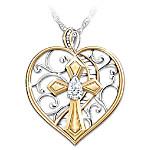 Loving Memories Women's Heart-Shaped White Topaz Bereavement Pendant Necklace