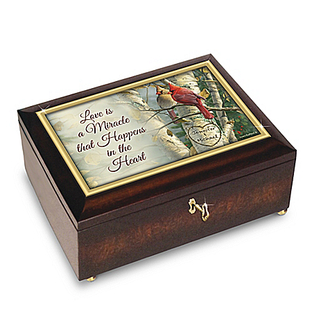 Love Is A Miracle Personalized Cardinal Music Box