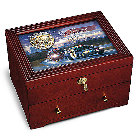 To Protect And Serve: Police Wooden Keepsake Box