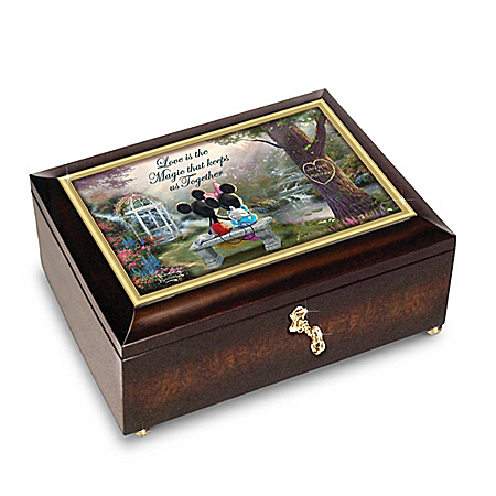 Thomas Kinkade Mickey Mouse and Minnie Mouse Romantic Personalized Music Box