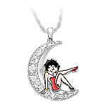 Over The Moon With Betty Boop Women's Crescent Moon-Shaped Crystal Pendant Necklace