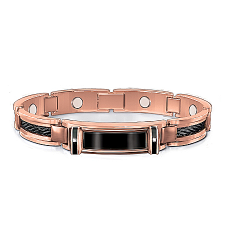 Nature's Healing Strength Copper And Diamond Men's Bracelet