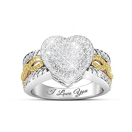 All My Love Women's Heart-Shaped Diamond Ring