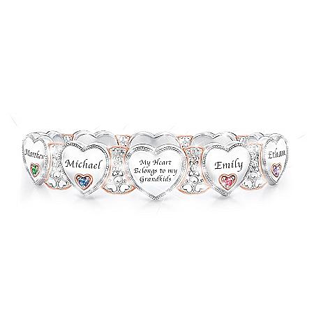 Grandma's Heart & Joy Personalized Birthstone Women's Sterling Silver Plated Bracelet