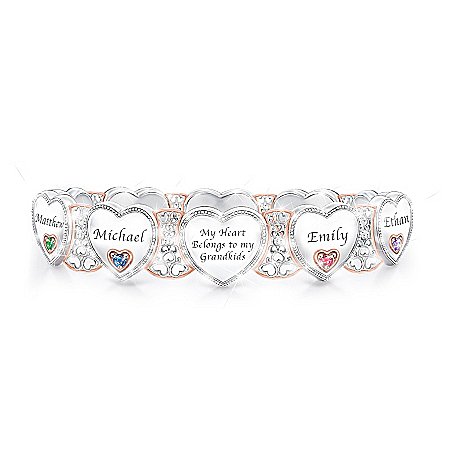 Grandma's Heart & Joy Personalized Birthstone Women's Sterling Silver Plated Bracelet – Personalized Jewelry