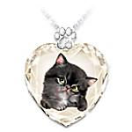 Sassy Cat Women's Crystal Heart-Shaped Pendant Set