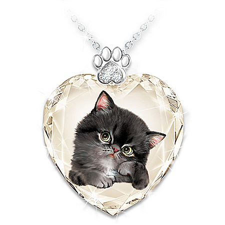Sassy Cat Women's Crystal Heart-Shaped Pendant Set
