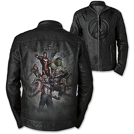 MARVEL Avengers Men's Leather Jacket with Embossed Symbol and Character Art