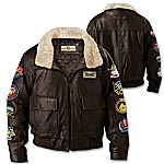 USMC Semper Fi Men's Leather Bomber Jacket With Vintage-Look Patches