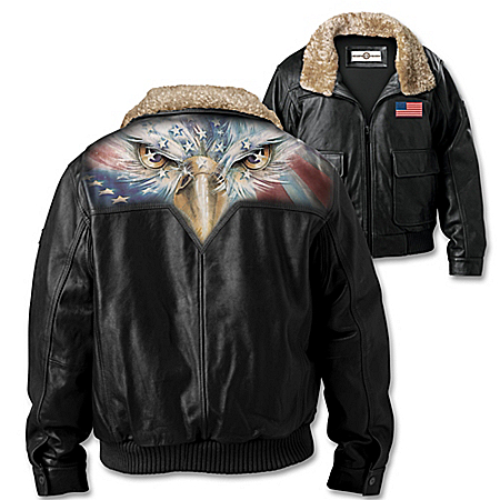 American Eagle Patriotic Men's Leather Aviator Jacket