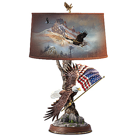 Ted Blaylock Light Of Freedom Sculpted Eagle Patriotic Table Lamp