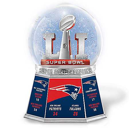 NFL Super Bowl LI Champions New England Patriots Commemorative Glitter Globe