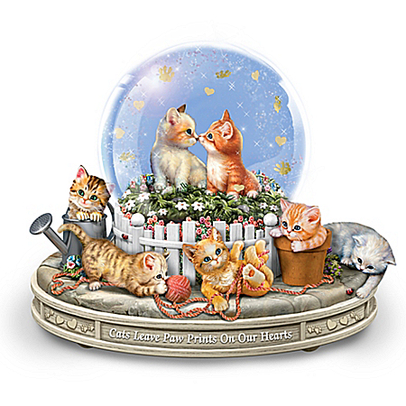 Paws-itively Precious Rotating Musical Glitter Globe