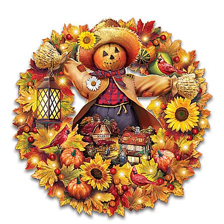 Thomas Kinkade Happy Harvest Days Illuminated Scarecrow Wreath
