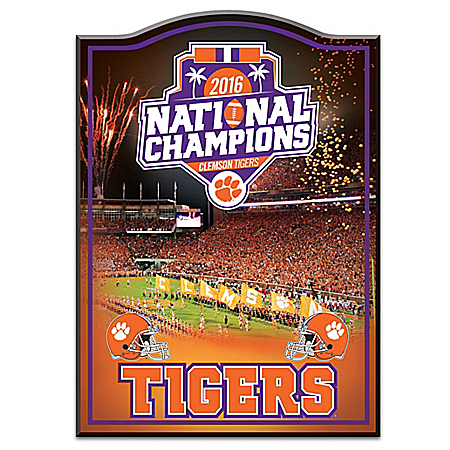 Limited Edition Clemson Tigers 2016 National Champions Wooden Wall Decor 126816002