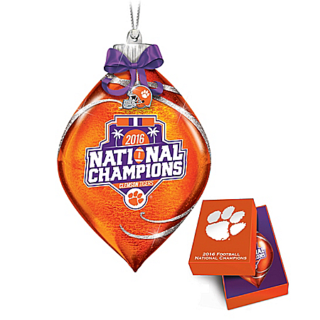 Handcrafted Clemson Tigers 2016 Football National Champions Commemorative Glass Ornament