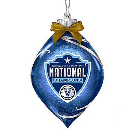 Villanova Wildcats 2018 NCAA Champions Glass Christmas Ornament Lights Up
