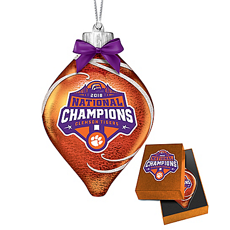 Clemson Tigers 2018 Football National Champions Glass Ornament